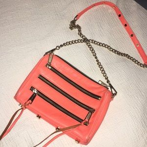 Rebecca Minkoff orange leather zip bag